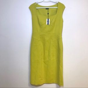 NWT Magaschoni Square Neck Dress Chartreuse 6